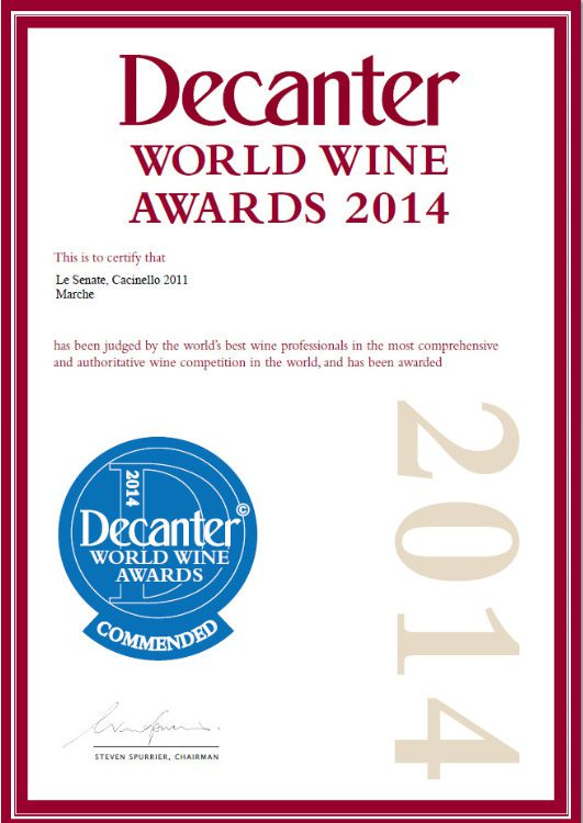 Decanter Cacinello Le Senate commended