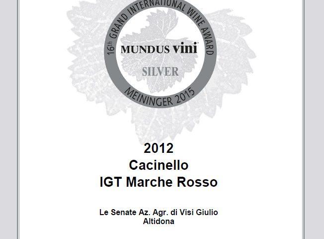 Silver Medal Certificate Cacinello 2012